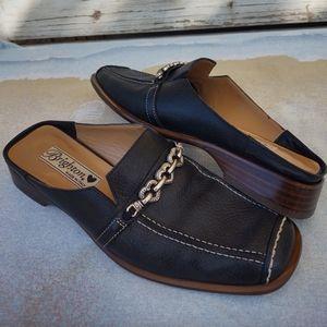 Brighton Josie Slip On Loafer Mule Black Leather Slides Sz 6